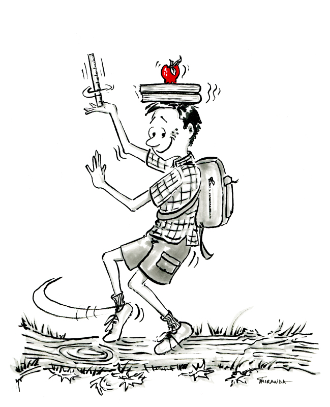 Brush pen cartoon of school boy balancing books and apple on his head, by Joana Miranda