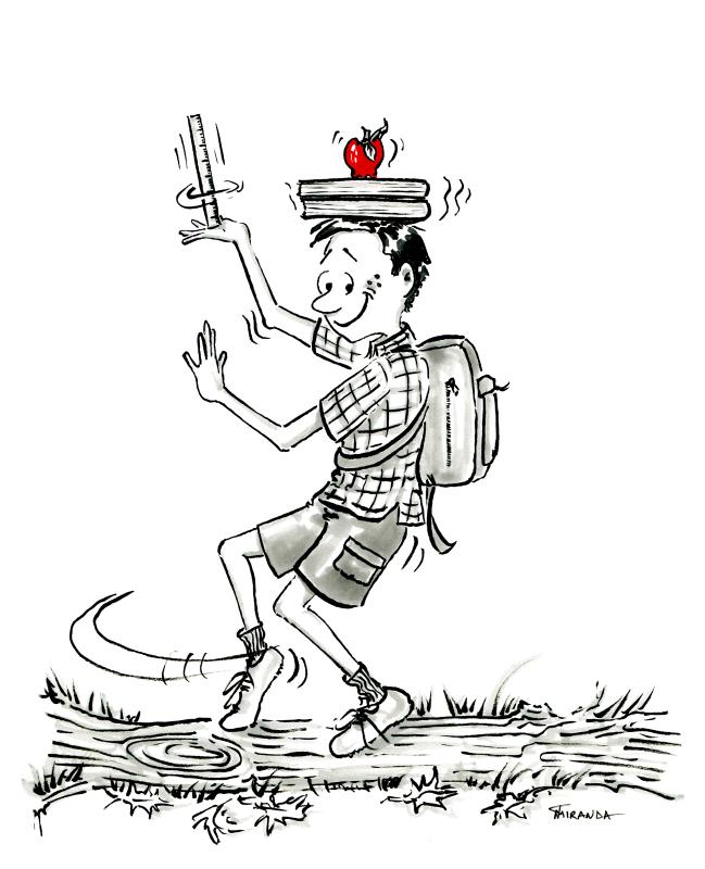 Brush pen cartoon of school boy balancing books and apple on his head, by Joana Miranda