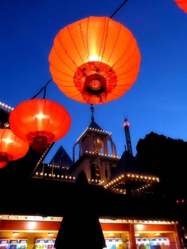 Lanterns illuminated at night at Tivoli Gardens, Copenhagen, Denmark