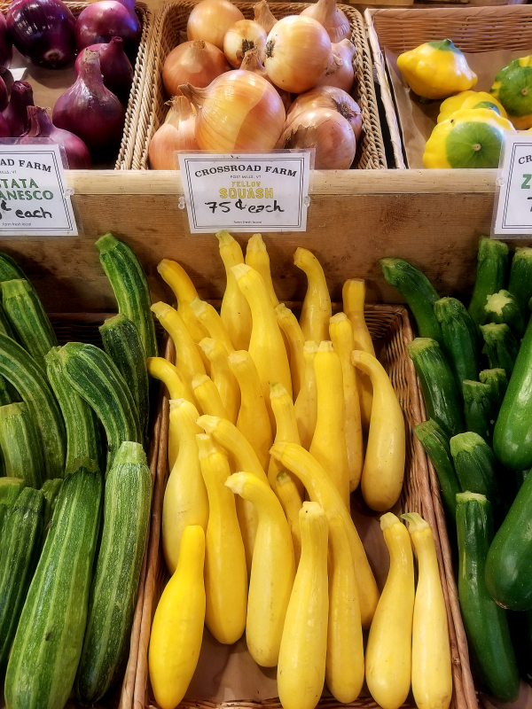 Photo of organic Vermont farm stand zucchini and squash