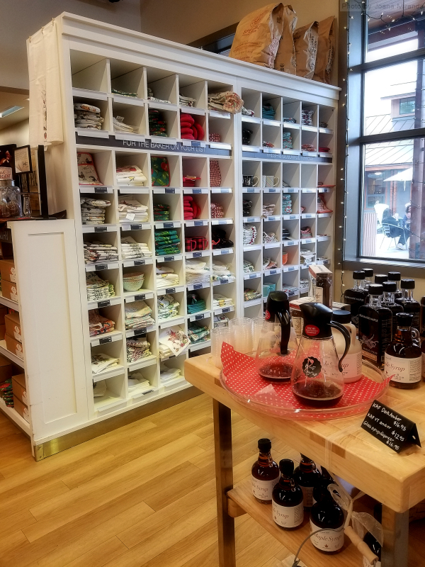 Photo of maple syrup display at King Arthur Flour store.