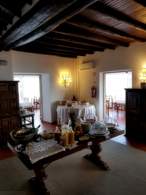 Breakfast buffet at Pousada Santa Maria in Marvao, Portugal