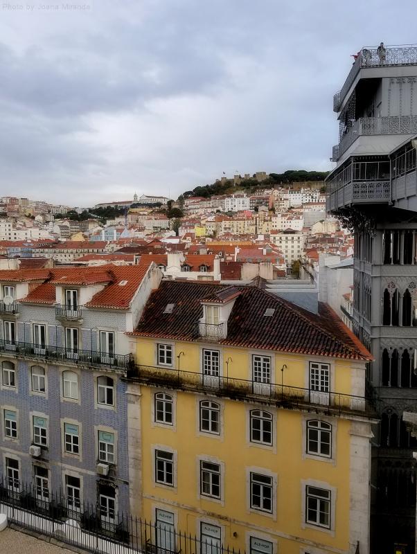View of Elevador de Santa Justa and downtown Lisbon