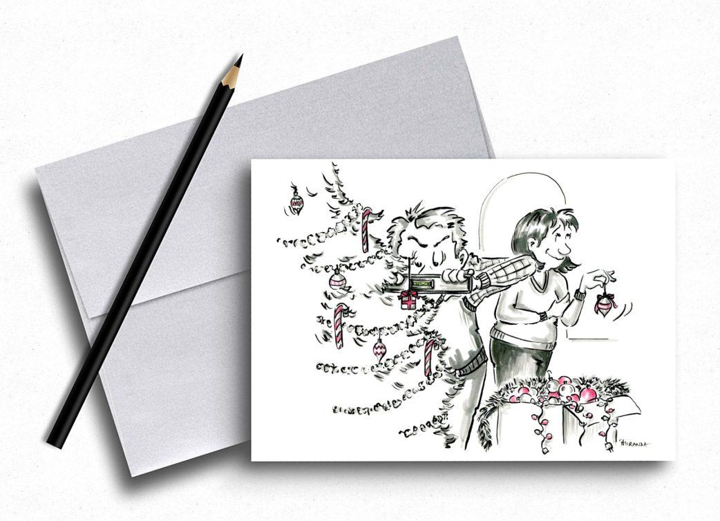 Funny Xmas Card for couples by Joana Miranda Studio