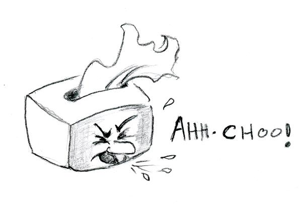 Cartoon drawing of sneezing box of Kleenex