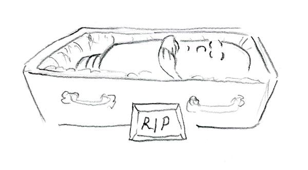 Cartoon of dead light bulb by Joana Miranda