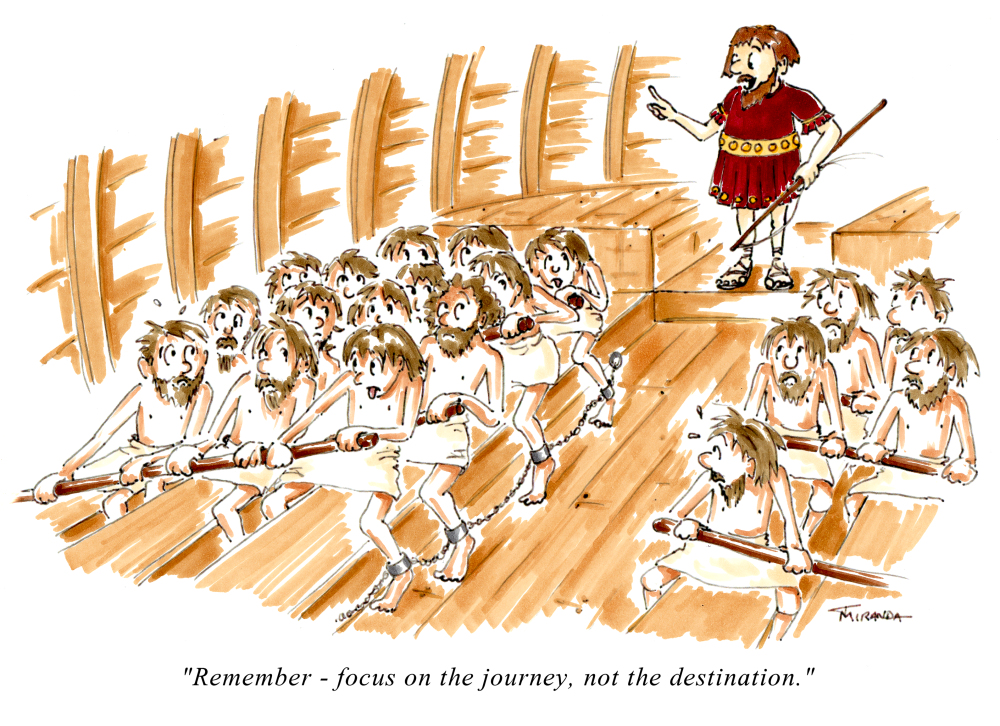 Focus on the Journey cartoon by Joana Miranda as seen in Cruising Outpost magazine