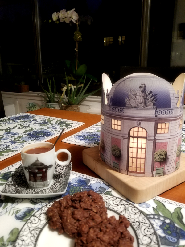 Photo of table set for tea and cookies