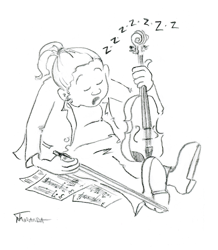 Cartoon of sleeping violist