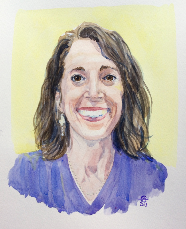 Watercolor portrait of Joana by Emma Montonen