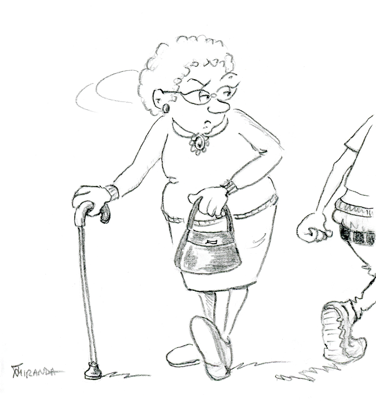 Funny cartoon of old woman watching youth walk by