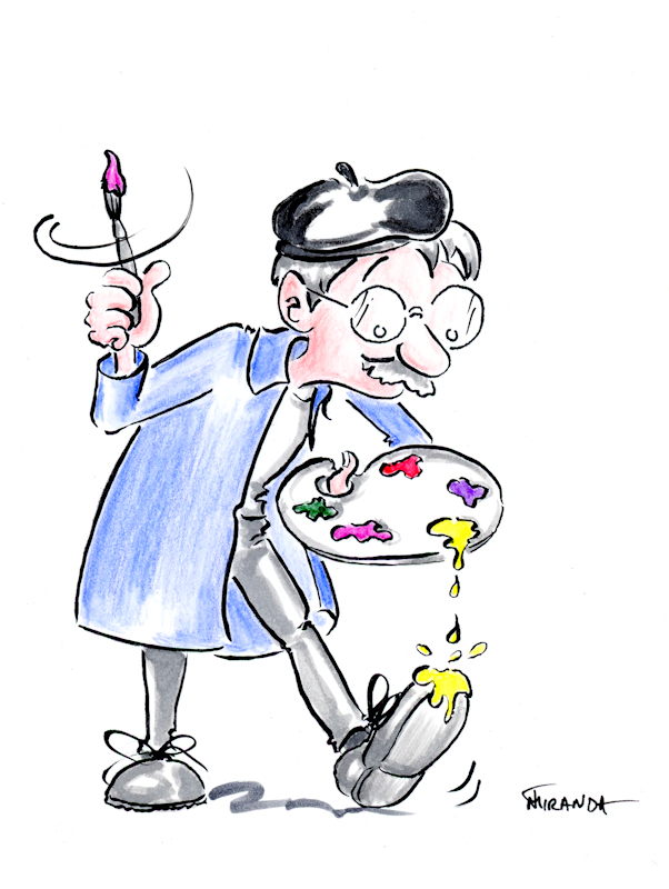 Contact me for custom illustration services - Funny artist cartoon by Joana Miranda