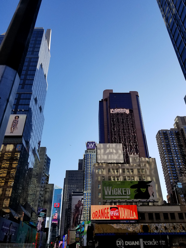 Photo of Times Square and Wicked Billboard taken by Joana Miranda