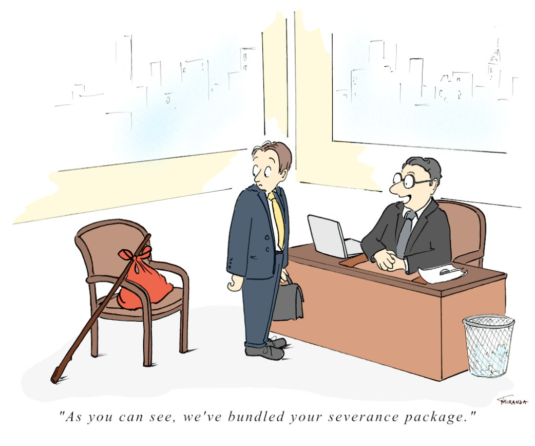 Bundled Severance Package business cartoon by Joana Miranda