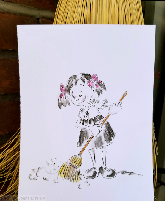 In this whimsical cartoon photo Little Jo is taking advantage of the beautiful weather to sweep while I spend some time drawing outside!