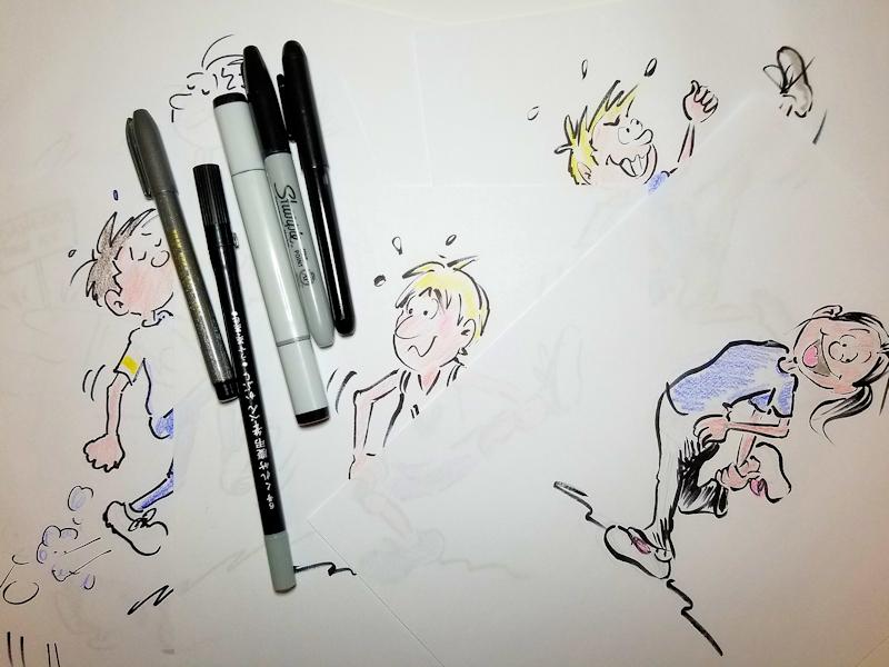 Cartoon illustrations done with different cartoon pens, by Joana Miranda