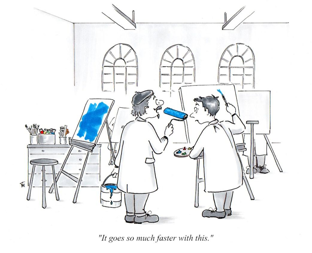 Tools of the Trade studio artist cartoon by Joana Miranda