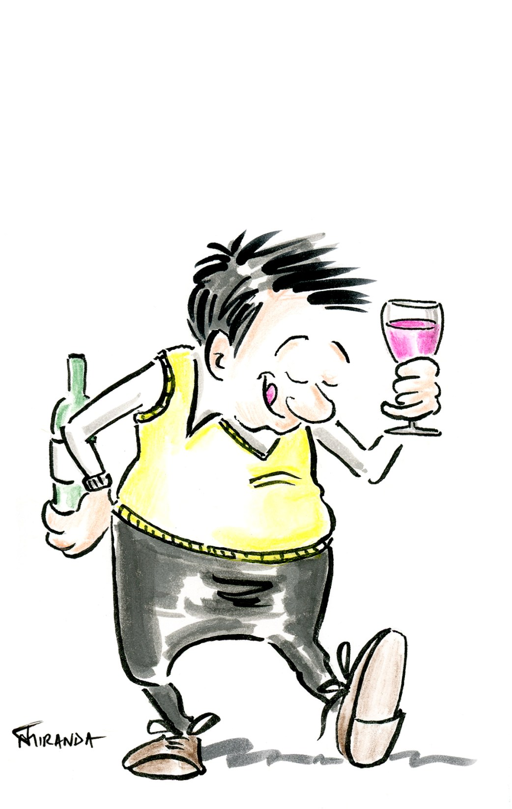 Character Illustrations - Wine Lover Cartoon by Joana Miranda