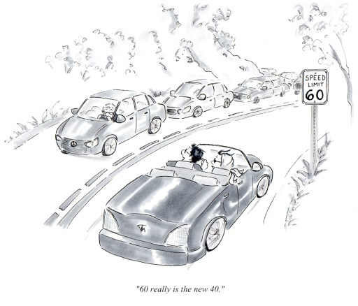 Single panel cartoons by Joana Miranda - 60 is the New 40 Old lady driver cartoon by Joana Miranda