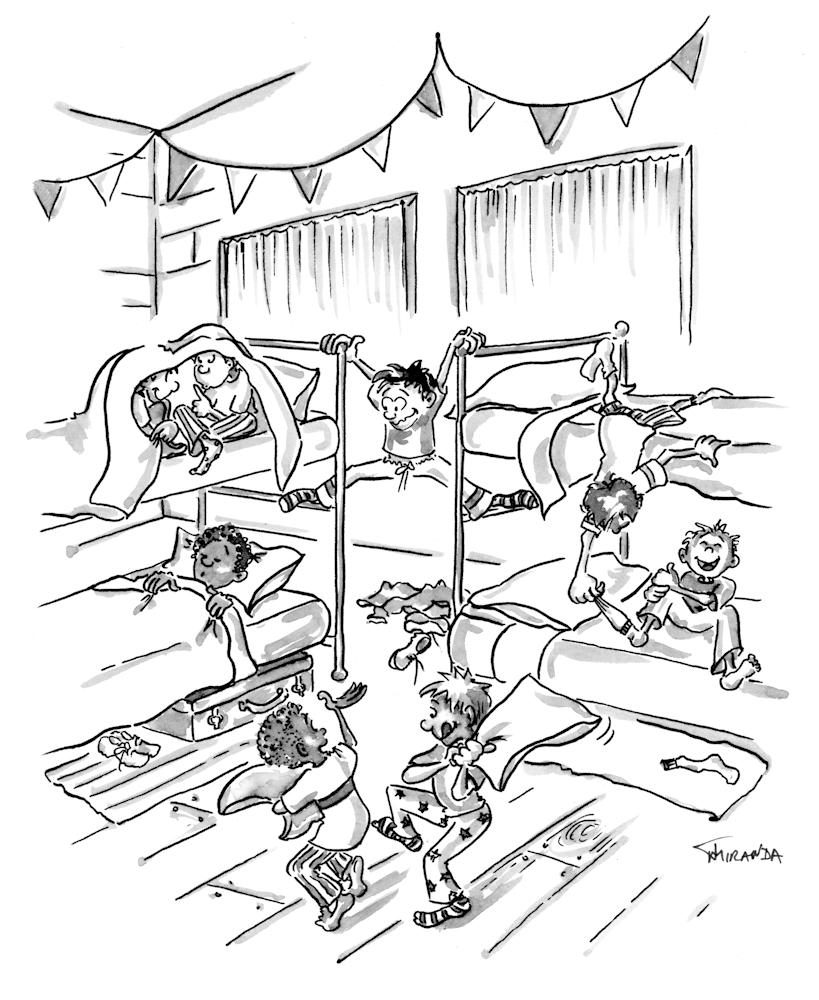 """India ink cartoon """"Camp"""" illustration by Joana Miranda"""