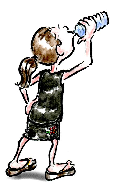 Cartoon-of-woman-glugging-water-by-Joana-Miranda