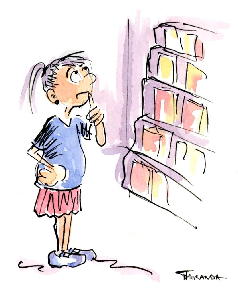 Funny cartoon watercolor sketch of young woman by Joana Miranda