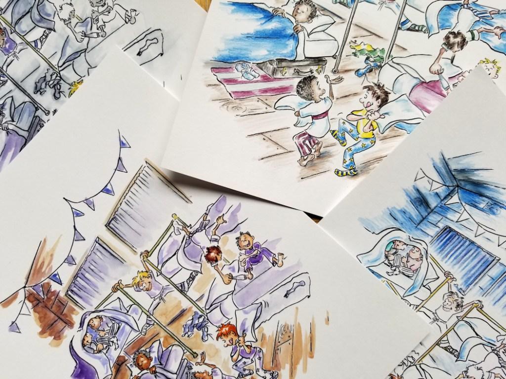 Photo-of-illustration-coloring-drafts-for-Camp-illustration-by-Joana-Miranda