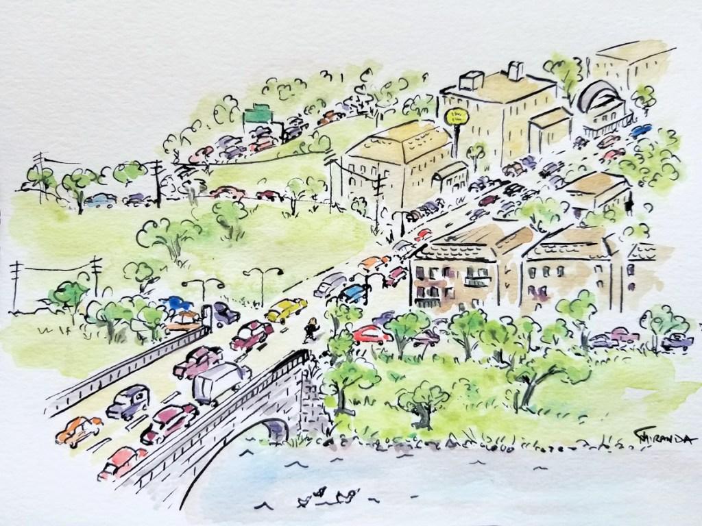 Watercolor illustration of Wisconsin village by Joana Miranda