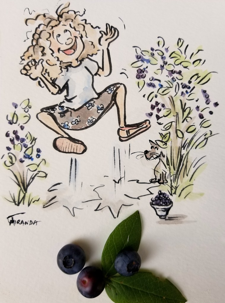 Cartoon-illustration-of-girl-jumping-happily-in-a-blueberry-patch