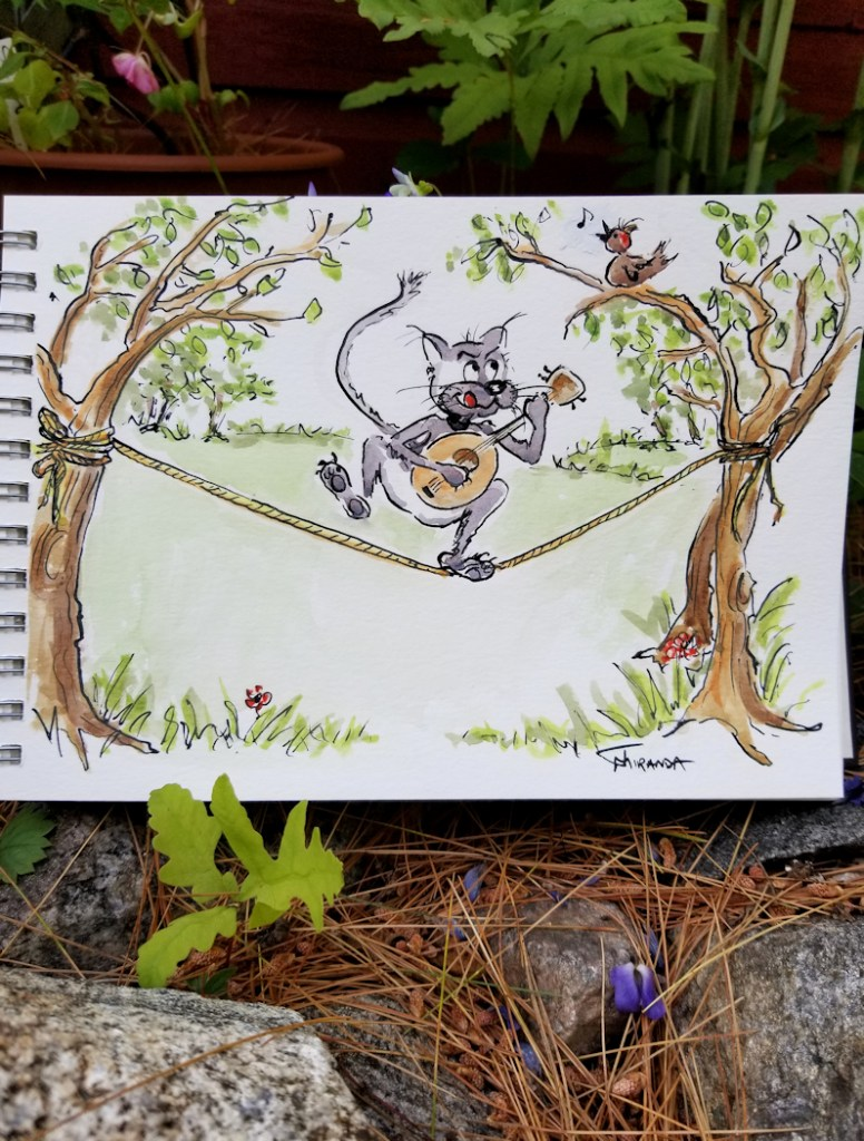 Finished watercolor cat cartoon illustration by Joana Miranda