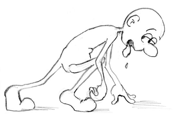 Funny exhausted little cartoon guy sketch by Joana Miranda