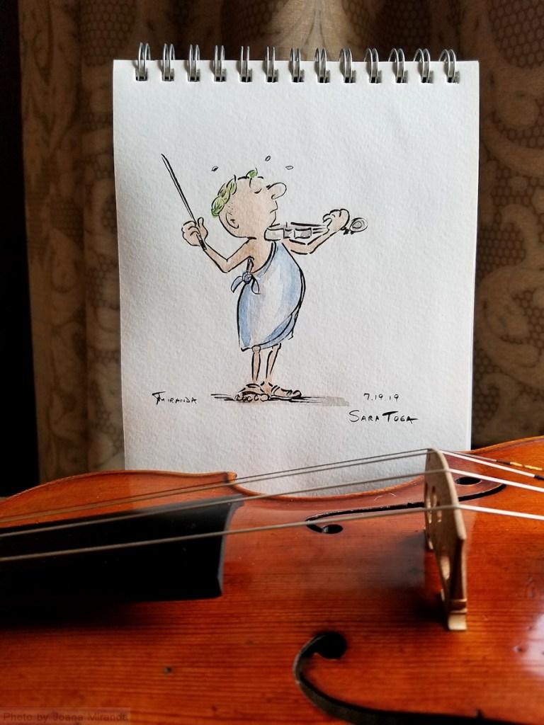 My Cartoon Life - Photo of cartoon drawing of man in-toga by Joana Miranda-playing-the-violin