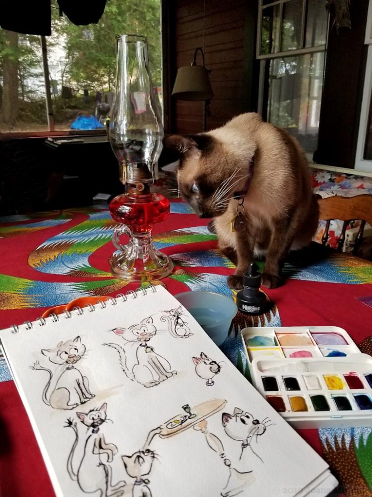 Photo of cat cartoon ink doodles by Joana Miranda