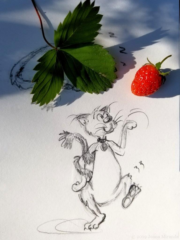 Photo-of-funny-cat-cartoon-sketch-with-strawberry-and-leaf-by-Joana-Miranda