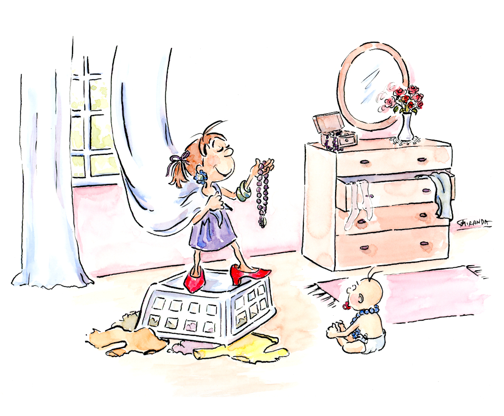 Whimsical children's book illustrations - Dress Up children's watercolor book art by Joana Miranda