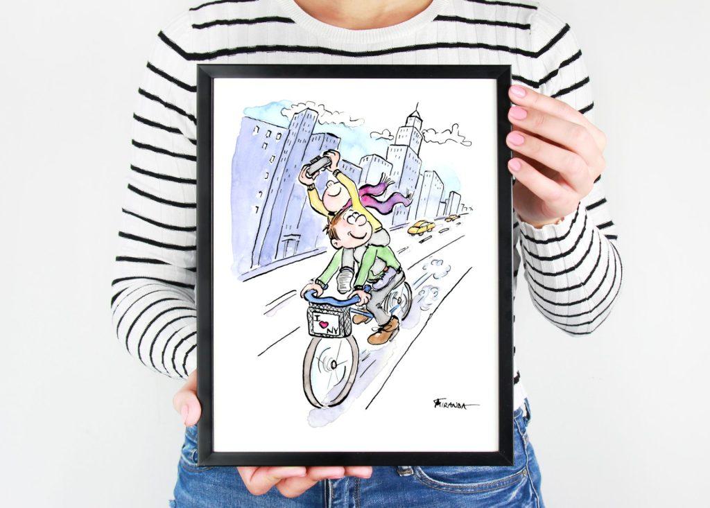 I Love NY watercolor and ink cartoon illustration by Joana Miranda
