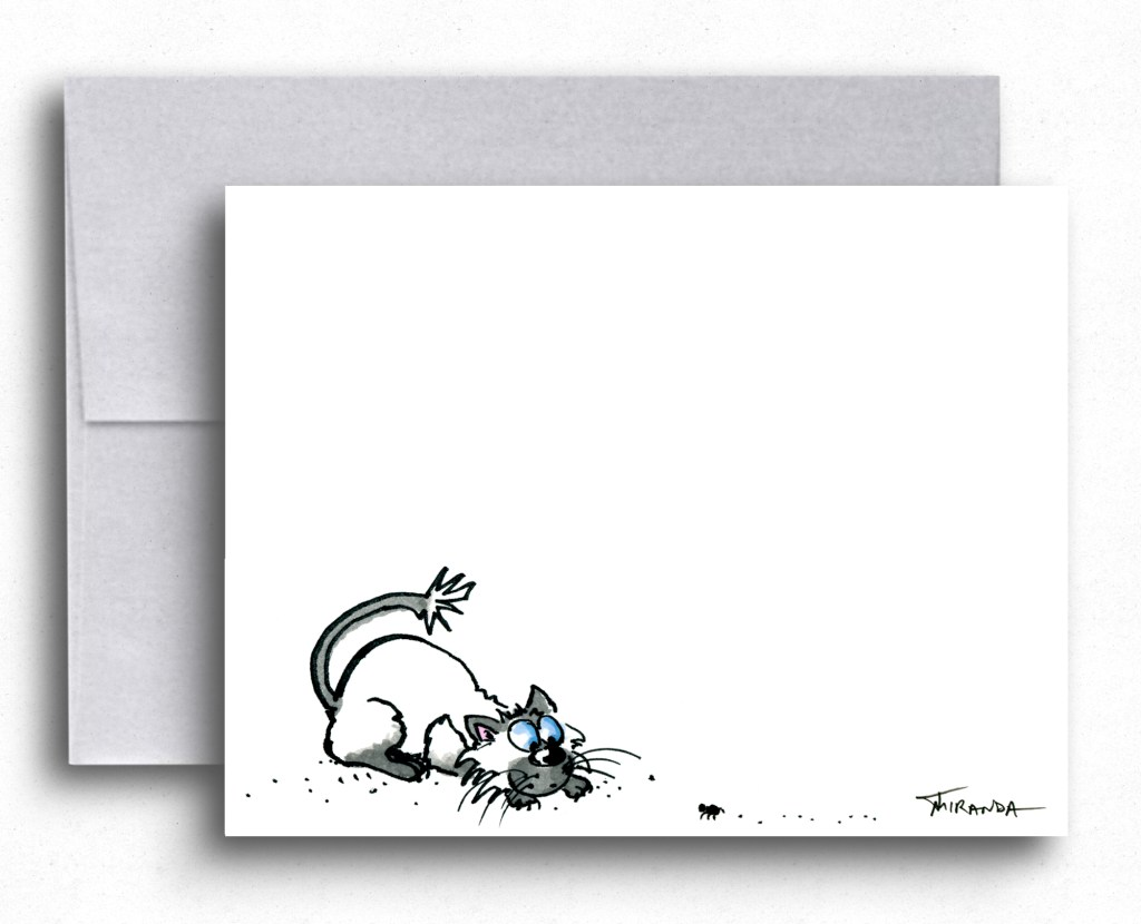Funny Siamese Cat Art - Note cards for cat lovers by Joana Miranda Studio at Etsy