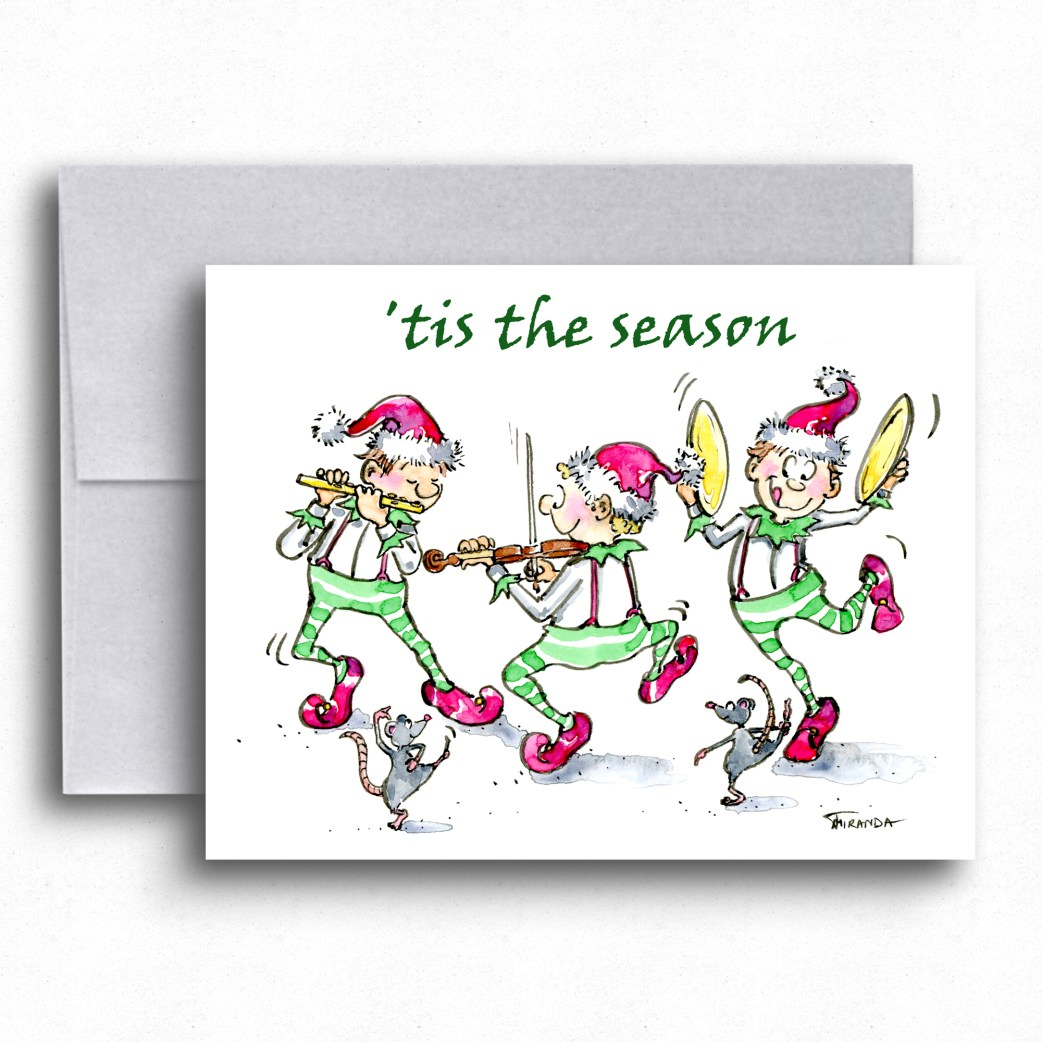 Elf holiday card by Joana Miranda Studio. Now available at Joana Miranda Studio at Etsy.