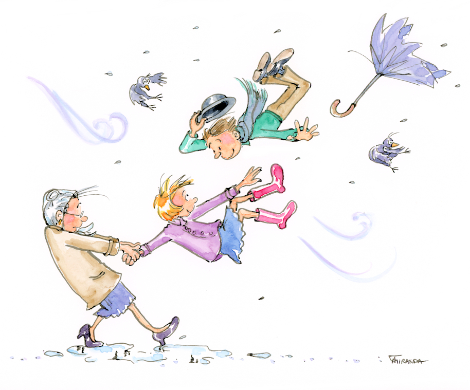 Whimsical children's book illustration  showing a blustery day, by Joana Miranda