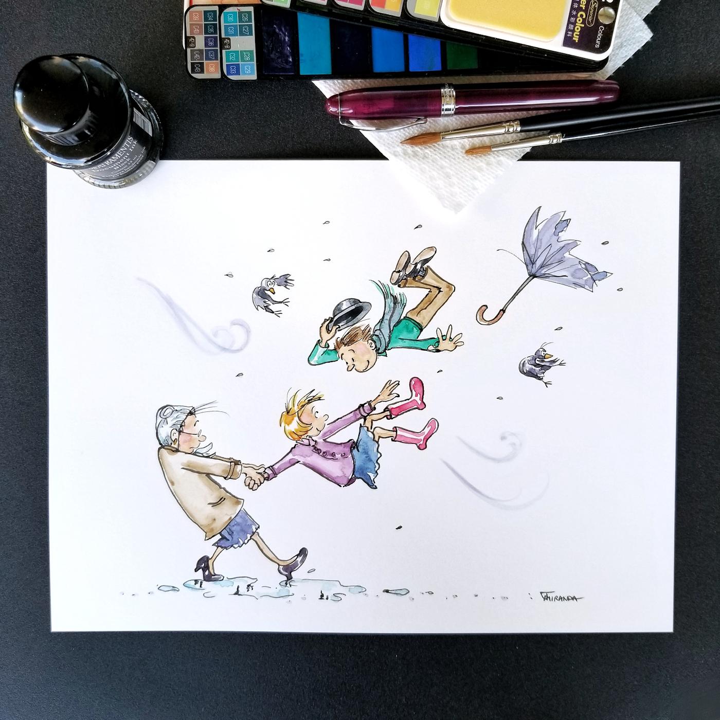 JMSC-180 Blustery photo of original illustration by Joana Miranda