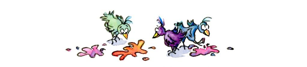 3 birds and the paint blobs watercolor illustration for ecards by Joana Miranda