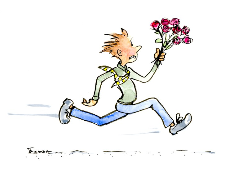 Belated Wishes/Sorry - Running man with flowers ecard watercolor illustration by Joana Miranda