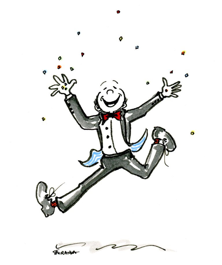 Yippee! Happy dance marker and ink ecard illustration by Joana Miranda
