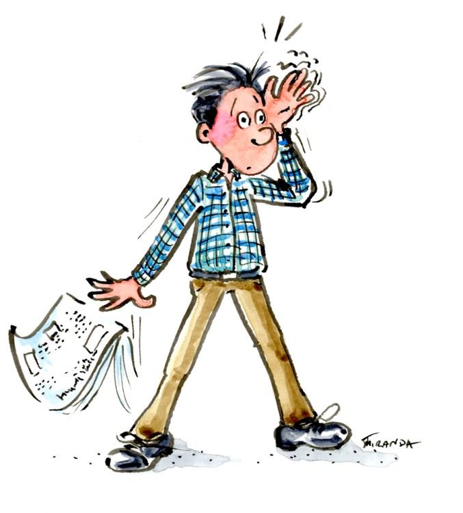 Forgetful man cartoon by Joana Miranda