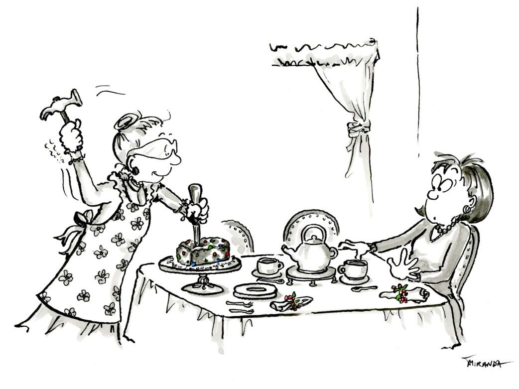 Humorous Christmas fruitcake cartoon by Joana Miranda