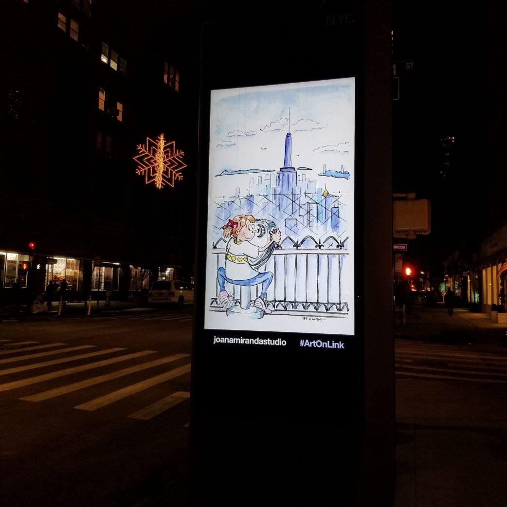 My illustrations on LinkNYC - Observation Deck illustration by Joana Miranda