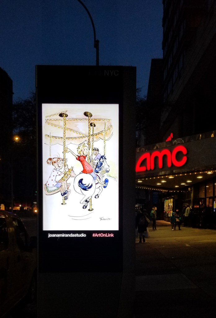My illustrations on LinkNYC kiosks - The Carousel by Joana Miranda