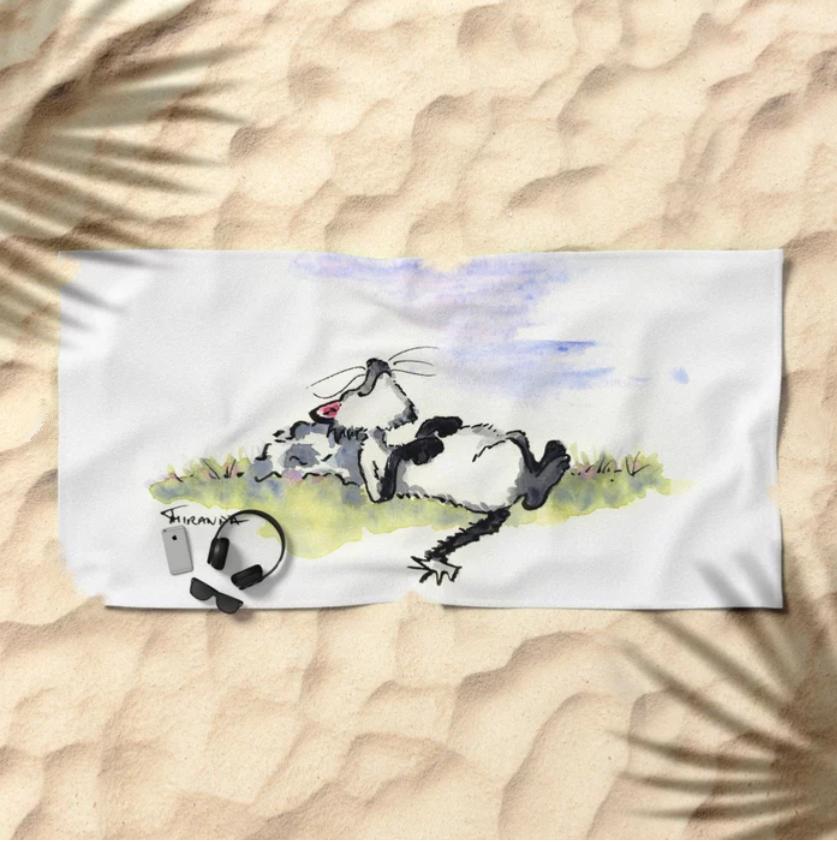 Beach towel with Afternoon Siesta whimsical cat art by Joana Miranda at Society6