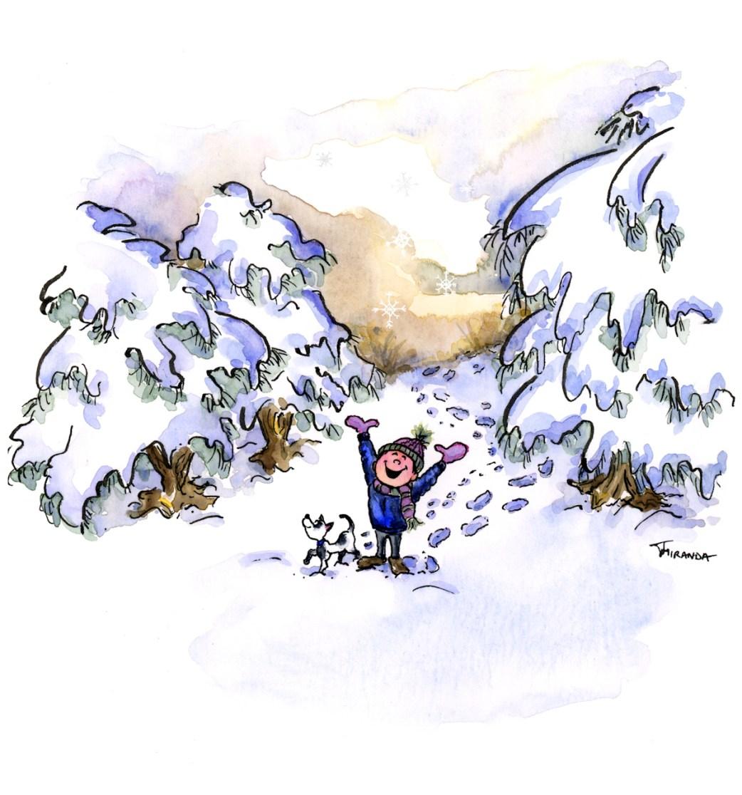 Snow Day - Watercolor Illustration by Joana Miranda