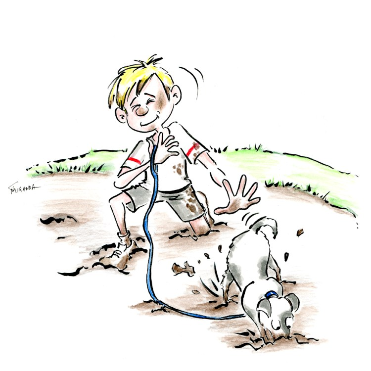Little boy playing in the mud with his dog.  Children's book art by Joana Miranda